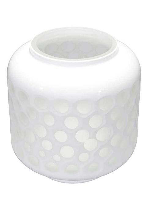 Warm Design İki Ton Beyaz Cam Vazo Beyaz